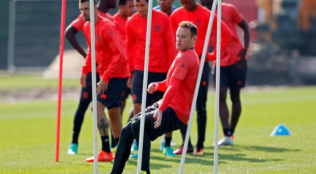 Manchester United's Wayne Rooney during training today