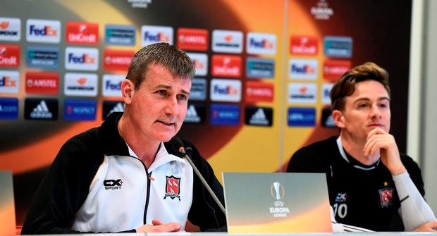 Dundalk manager Stephen Kenny and Ronan Finn during the press conference at the AZ Stadion in Alkmaar, Netherlands. Photo by David Maher/Sportsfile