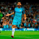 Sergio Aguero of Manchester City celebrates his hat trick