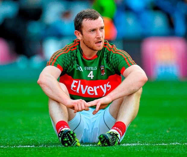 Keith Higgins after Mayo's defeat to Dublin in last year's semi-final replay. Photo: Sportsfile