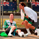Katie-George Dunlevy (right) and her pilot Eve McCrystal react after they realise that they have won gold in the Women's B Time Trial in Rio de Janeiro. Photo by Diarmuid Greene/Sportsfile