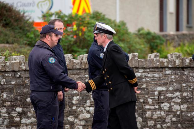 John Draper of Valentia RCC with members of the Garda Water Unit. Photo: Mark Condren