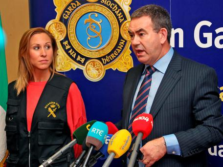 Det Supt Tony Howard of the Drugs and Organised Crime Unit and a member of the Spanish Guardia Civil at a media briefing in Dublin Picture Colin Keegan