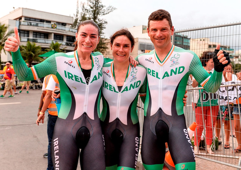 14 September 2016; Ireland's Katie-George Dunlevy, centre, with her pilot Eve McCrystal, after winning gold in the Women's B Time Trial, along with fellow Team Ireland gold-medalist Eoghan Clifford who won the Men's C3 Time Trial at the Pontal Cycling Road during the Rio 2016 Paralympic Games in Rio de Janeiro, Brazil. Photo by Diarmuid Greene/Sportsfile