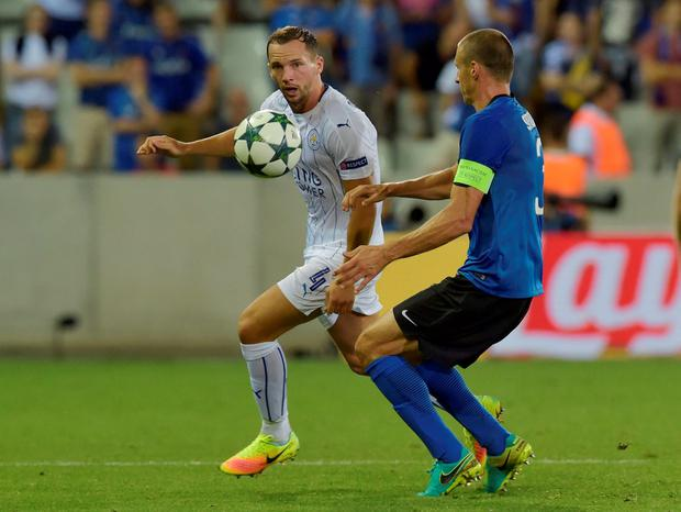 Leicester City's Danny Drinkwater in action with Club Brugge's Timmy Simons. Photo: Eric Vidal/Reuters
