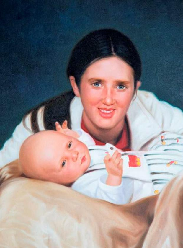 A painting of Fiona with her baby son