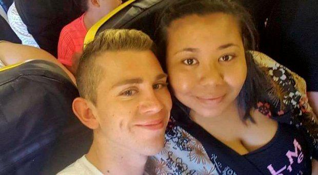 Amber Elouise Ferguson with her friend on board the Monarch flight to Ibiza.