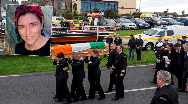 Mourners carry the coffin of Catriona Lucas, inset