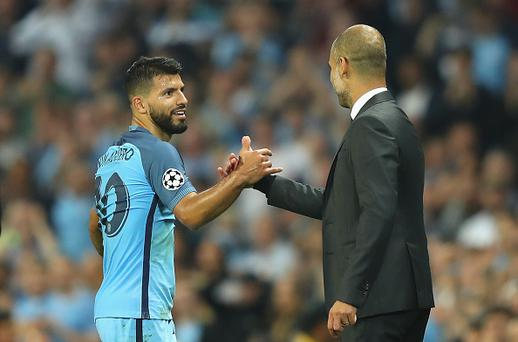 Aguero hits hat-trick as impressive City see off Monchengladbach