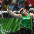 15 September 2016; Orla Barry of Ireland in action during the Women's Discus F57 Final at the Olympic Stadium during the Rio 2016 Paralympic Games in Rio de Janeiro, Brazil. Photo by Diarmuid Greene/Sportsfile