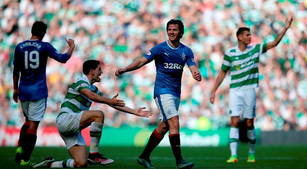 Rangers' Joey Barton reacts during the Ladbrokes Scottish Premiership match at Celtic Park, Glasgow