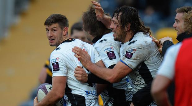 Zebre players celebrate scoring a try during last year's European Rugby Challenge Cup. (Photo by Tony Marshall/Getty Images)