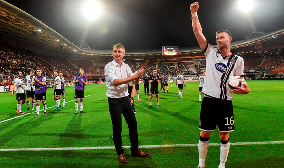 Goalscorer Ciran Kilduff, right, of Dundalk celebrates with manager Stephen Kenny