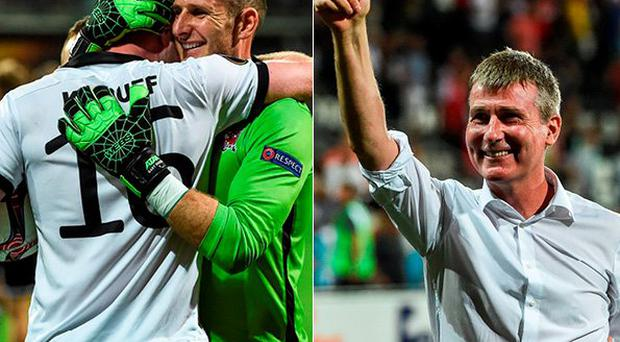 Gary Rogers celebrates with Ciaran Kilduff and (right) Stephen Kenny