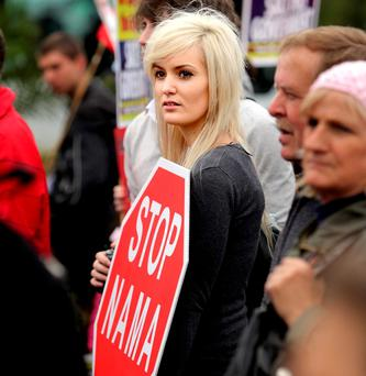 Anouska Proetta-Brandon takes part in an anti-Nama protest in 2009. Ministers believe a large chunk of the public have never had confidence in Nama. Photo: Gerry Mooney