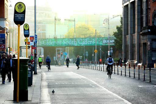 City centre bus stops without any buses during rush hour. Picture; Gerry Mooney