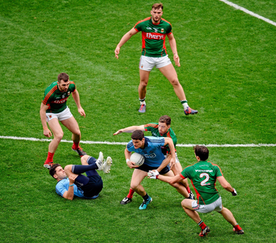 Mayo will need to relentlessly pressurise the Dublin attack if they are to give themselves a chance of victory. Picture: Dáire Brennan / SPORTSFILE