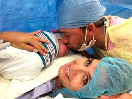 Graeme McDowell with his wife Kristin Stape after the birth of son Wills Edson