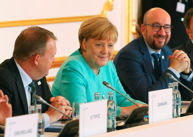 (L-R) Denmark's Prime Minister Lars Lokke Rasmussen, Germany's Chancellor Angela Merkel, Belgian Prime Minister Charles Michel and Italy's Prime Minister Matteo Renzi attend the European Union summit- the first one since Britain voted to quit- in Bratislava, Slovakia, September 16, 2016. REUTERS/Yves Herman