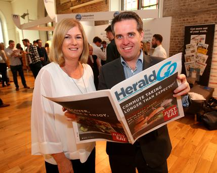 Geoff Lyons, Commercial Director at INM and Karen Preston, advertising director INM at the Newsbrand Ireland town hall event in the Smock alley Theatre, Dublin. Picture credit; Damien Eagers
