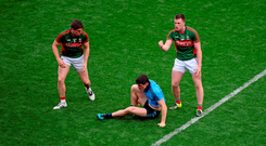 Cillian O'Connor (right) signals to the linesman after a controversial incident between Diarmuid Connolly (centre) and Mayo team-mate Lee Keegan during last year's drawn All-Ireland semi-final. Picture credit: Dáire Brennan / SPORTSFILE