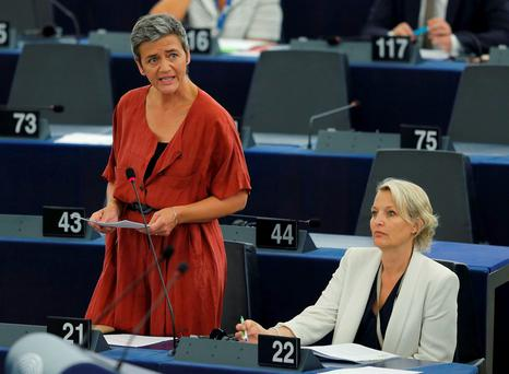 European Commissioner for Violation of EU Treaties Margrethe Vestager addresses the European Parliament in Strasbourg, France. Photo: Reuters