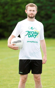 Jack McCaffrey at yesterday's launch of GOAL's Jersey Day. Photo: Sasko Lazarov/Photocall Ireland