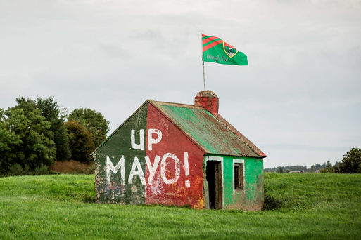 The Mayo colours, which have been painted on a deserted building in, Manulla, Co Mayo. Photo: Keith Heneghan/ Phocus