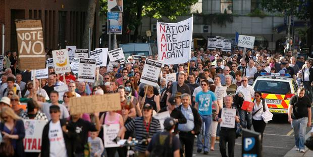 Protesters opposed to the proposed Nama legislation march through Dublin city centre in 2009. Photo: PA