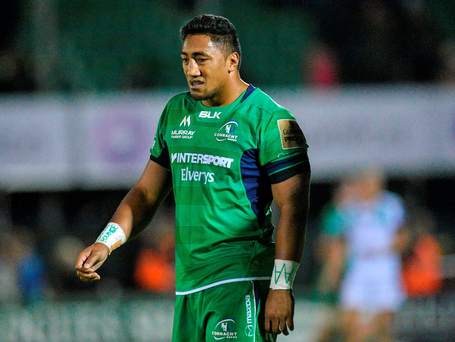 Bundee Aki shows his disappointment after Connacht's defeat to Ospreys. Photo by Ray Ryan/Sportsfile