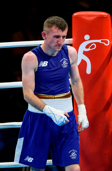 A dejected Paddy Barnes after he lost his bout with Samuel Carmona Heredia of Spain in Rio last month. Photo: Sportsfile
