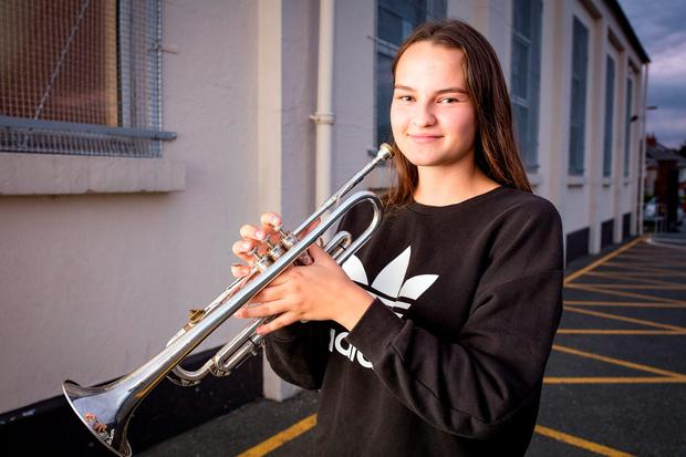 Aisling Williams, age 17he Artane band practicing ahead of Sunday's All-Ireland clash between Dublin and Mayo at Croke Park. Picture: Arthur Carron