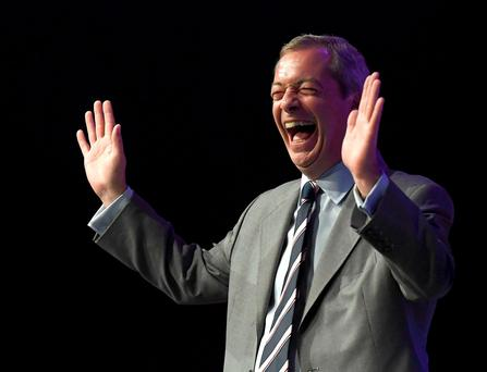Nigel Farage, the outgoing leader of the United Kingdom Independence Party (UKIP), reacts during the party's annual conference in Bournemouth, Britain, September 16, 2016. REUTERS/Toby Melville