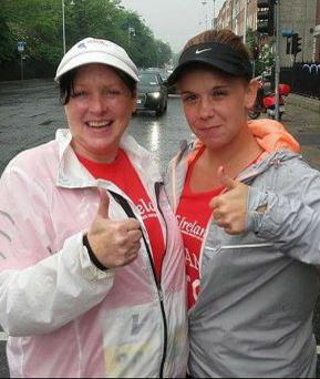 Lisa with her 'mother-in-law' at the Women's Mini Marathon