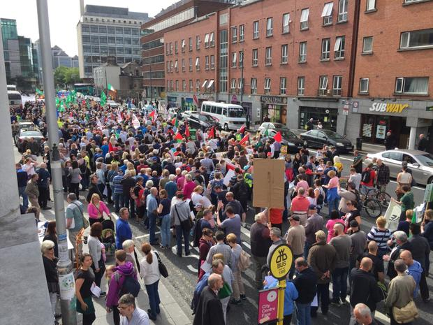 Protesters gather at Connolly Station
