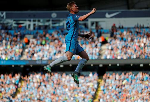 Manchester City's Kevin De Bruyne celebrates scoring their first goal