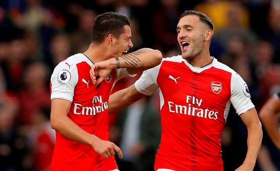 Arsenal's Granit Xhaka celebrates scoring their fourth goal with Lucas Perez Action Images via Reuters / Lee Smith