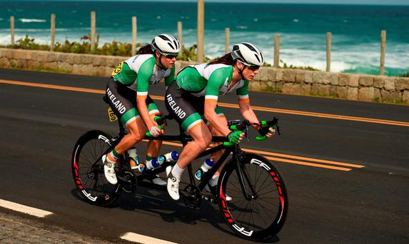 Katie-George Dunlevy of Ireland, along with her pilot Eve McCrystal, in action during the Women's B Road Race at the Pontal Cycling Road during the Rio 2016 Paralympic Games in Rio de Janeiro, Brazil. Photo by Diarmuid Greene/Sportsfile