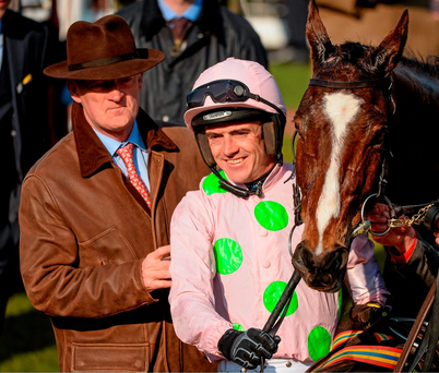 Willie Mullins and Ruby Walsh celebrate Vautour's Ryanair Steeple Chase success at Cheltenham. Photo: Sportsfile