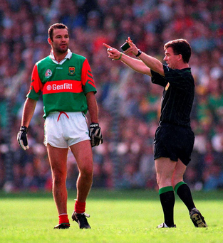 29 September 1996; Referee Pat McEnaney sends off Mayo's Liam McHale. Photo: Sportsfile