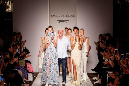 Runway success: Irish designer Paul Costelloe celebrates after his SS17 show at the current London Fashion Week. The Dubliner's show was dedicated to the rejuvenation of Irish linen, and his new eco-minded range uses a natural, organic flax from Flanders that is then woven in Ireland. Photo: © Debbie Bragg / Paul Costelloe