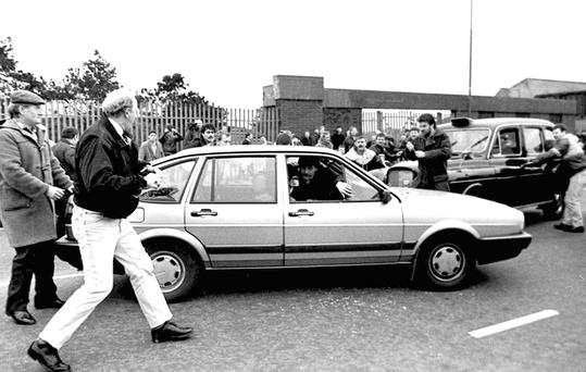 These pictures show what happened when David Howes and Derek Wood, inadvertently drove on to a street where the funeral cortege of an IRA volunteer was passing. The two were dead just 12 minutes later. Photos: Pacemaker/ Press Association