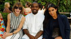 Vogue Editor in Chief Anna Wintour, recording artist Kanye West and TV personality Kim Kardashian attend CFDA/Vogue Fashion Fund Show and Tea at Chateau Marmont on October 20, 2015 in Los Angeles, California. (Photo by Jeff Vespa/Getty Images for CFDA/Vogue)