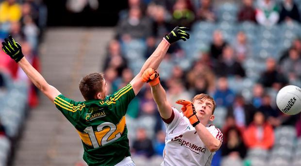Diarmuid O'Connor of Kerry scores his side's first goal past Cormac Haslam of Galway during the Electric Ireland GAA Football All-Ireland Minor Championship Final match between Kerry and Galway at Croke Park in Dublin. Photo by David Maher/Sportsfile