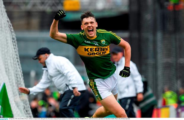 David Clifford of Kerry celebrates scoring his side's third goal in the 53rd minute during the Electric Ireland GAA Football All-Ireland Minor Championship Final match between Kerry and Galway at Croke Park in Dublin. Photo by Ray McManus/Sportsfile