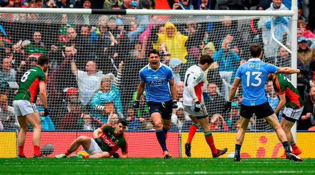 Bernard Brogan of Dublin celebrates after his side's first goal during the GAA Football All-Ireland Senior Championship Final match between Dublin and Mayo at Croke Park in Dublin. Photo by Ray McManus/Sportsfile