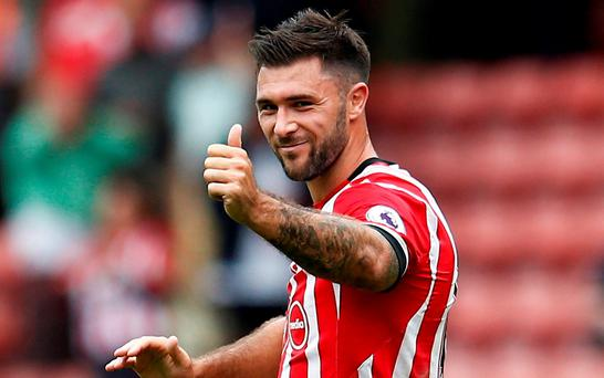 Southampton's Charlie Austin celebrates after the game Reuters / Peter Nicholls