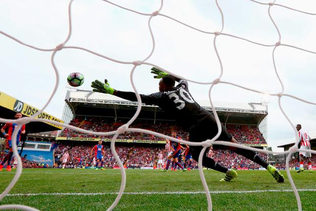 Marko Arnautovic of Stoke City scores his sides first goal. Photo by Ian Walton/Getty Images