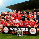 St Patrick's Athletic players celebrate after their EA Sports Cup final win over Limerick at Markets Field. Photo by David Maher/Sportsfile