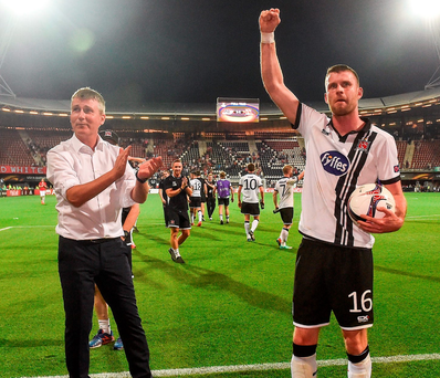 Dundalk goalscorer Ciaran Kilduff celebrates with manager Stephen Kenny. Photo: David Maher/Sportsfile